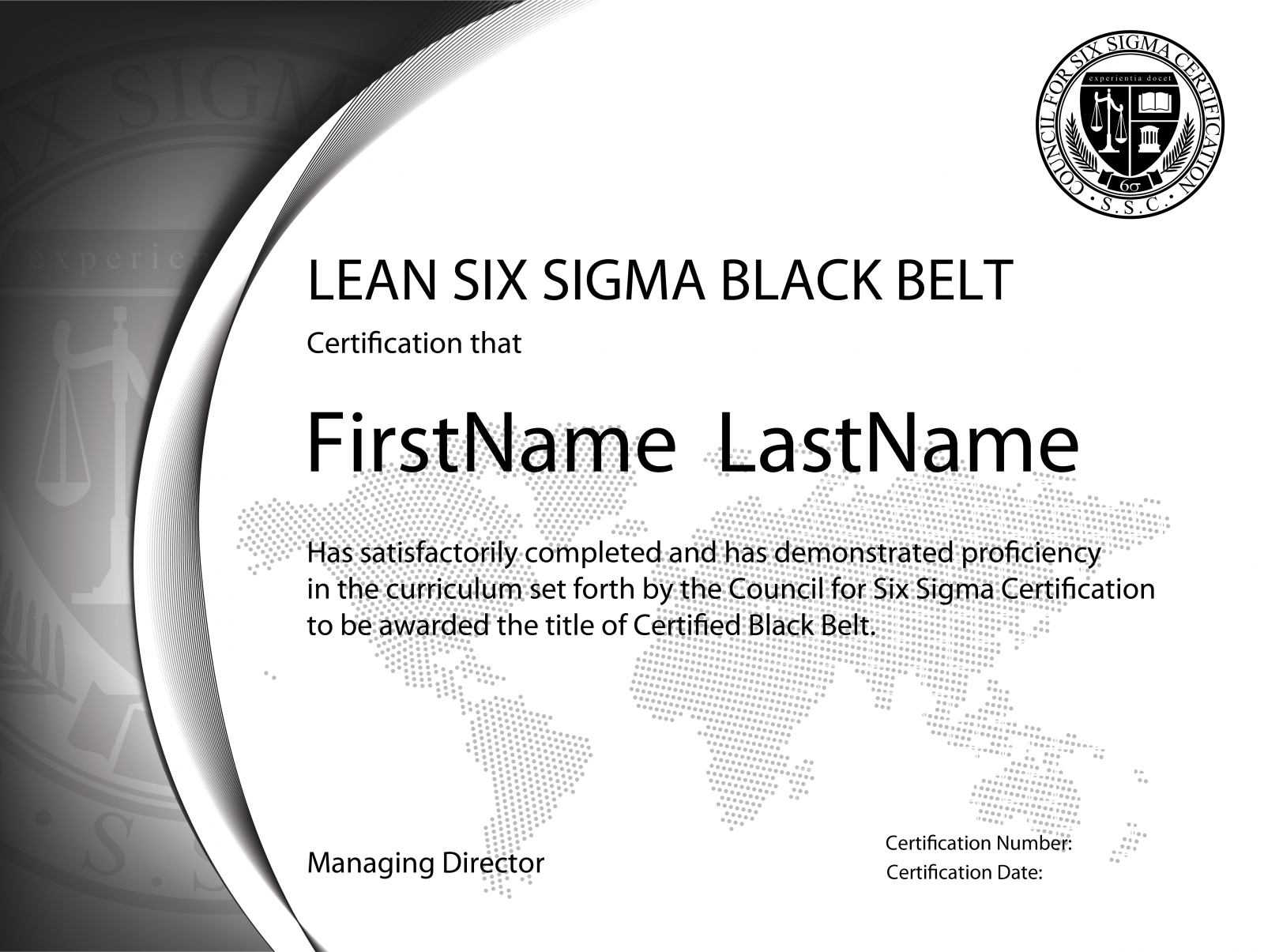 Lean six sigma black belt standard exam single for Six sigma black belt certificate template