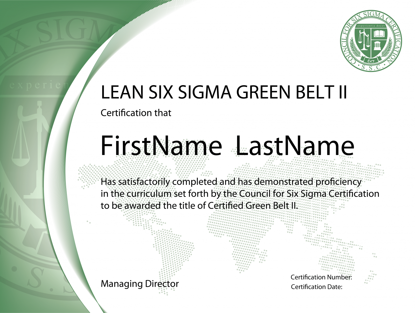 Lean Six Sigma Green Belt Certification Level Ii The Council For