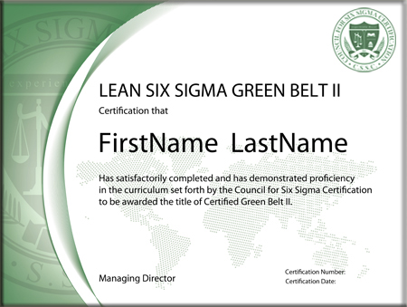 lean six sigma green belt certification - level ii (standard exam