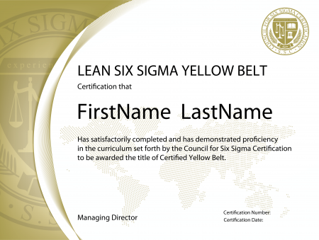 Lean six sigma yellow belt yellow lean lean yellow belt for Six sigma black belt certificate template